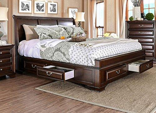 Esofastore Brown Cherry Storage California King Size Bed Bedroom Furniture...