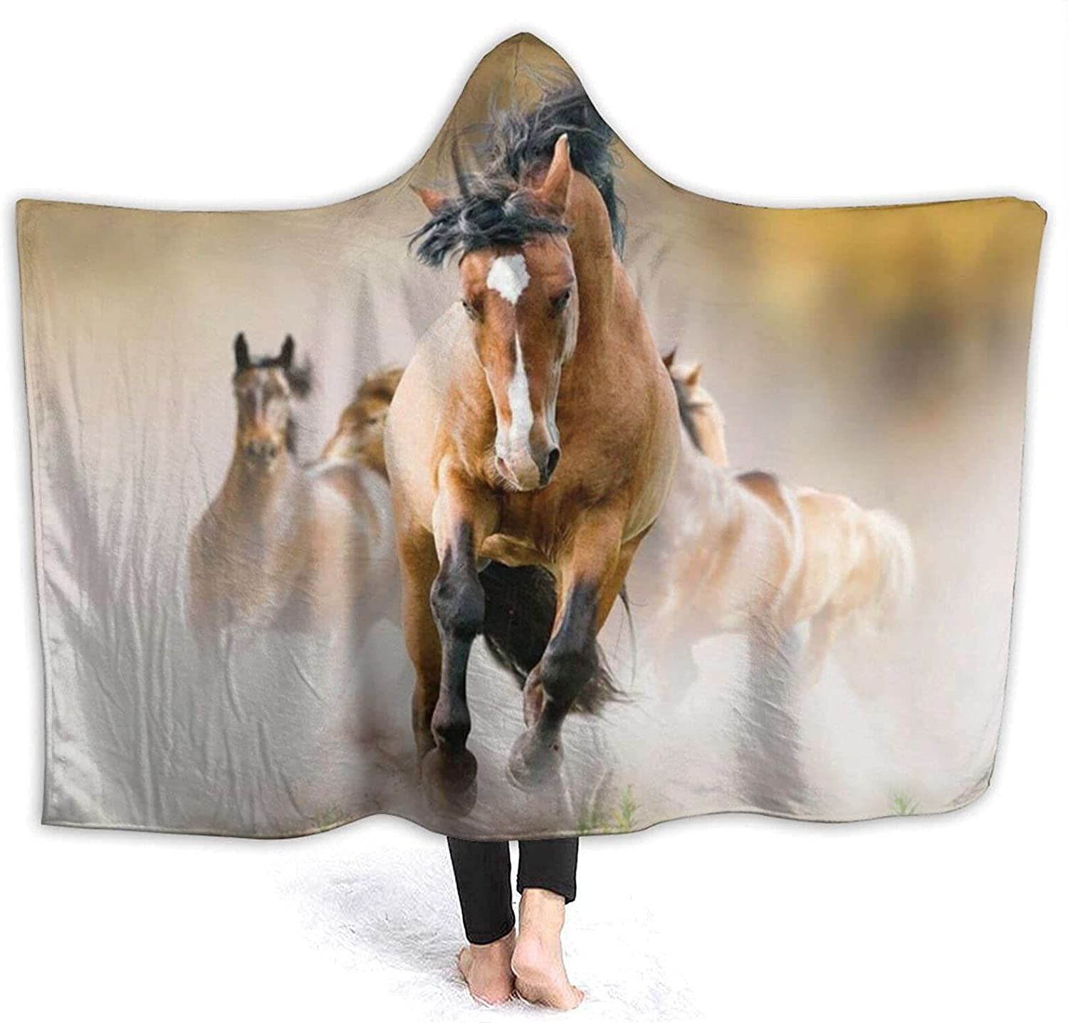 Horses Printing Max Ranking TOP4 67% OFF Hooded Blanket Anti-Pilling Flannel Wearable Ho