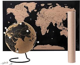 Globo terráqueo de corcho Eco- Globo estudiante educativo- incluye 12 marcadores chincheta, Globo 15 Ø- Globo terráqueo escolar y viajeros