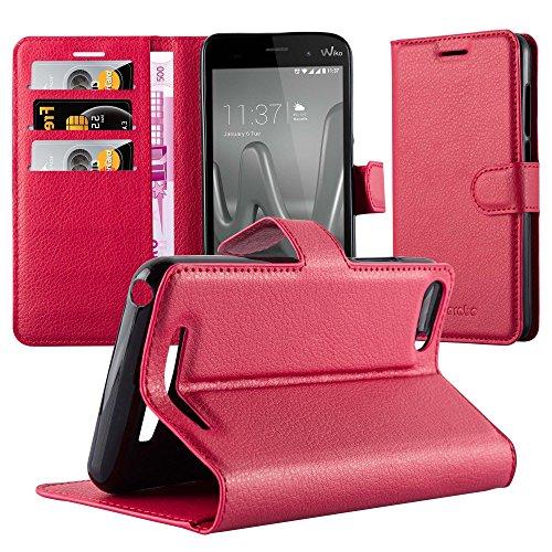 Cadorabo Hülle für WIKO Lenny 3 - Hülle in Karmin ROT – Handyhülle mit Kartenfach & Standfunktion - Case Cover Schutzhülle Etui Tasche Book Klapp Style