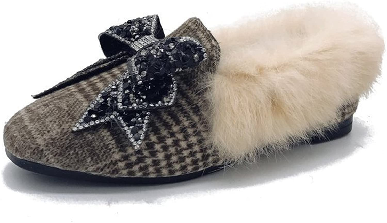 Btrada Women's Winter Warm Moccasins Slipper Fluffy Fur Lining CZ Bowknot Driving Moccasins shoess shoes