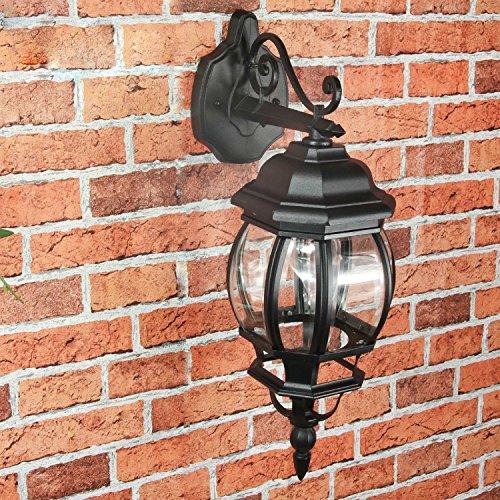 *Rustikale Wandleuchte in schwarz inkl. 1x 12W E27 LED Wandlampe aus Aluminium Glas für Garten Terrasse Garten Terrasse Lampen Leuchte außen Beleuchtung*
