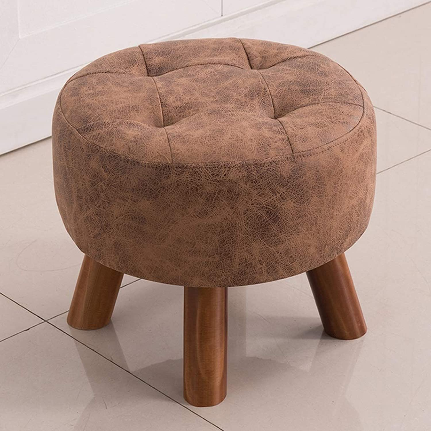 Solid Wood Round Stool Fashion Cloth Art Sofa Chair Tea Table Dressing Table Technology Cloth Stool Porch shoes Changing Stool (Size   Coffee color)