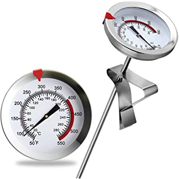 """12"""" Mechanical Meat Thermometer Instant Read, Long Stem, Waterproof, No Battery Required, Stainless Steel Deep Fry Thermometer for Turkey, BBQ, Grill"""