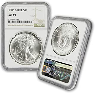 1986 American Silver Eagle $1 MS69 NGC