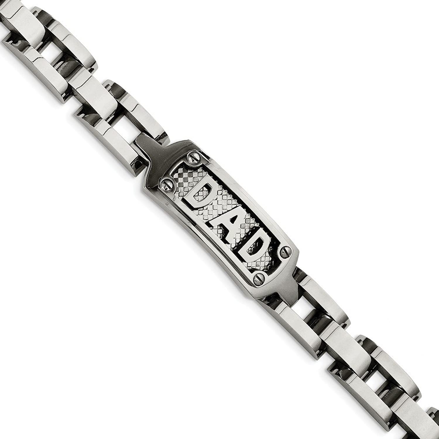 Beautiful Stainless Steel Polished & Textured Dad Bracelet