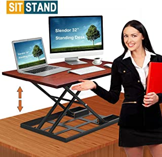Standing Desk Stand Up Desks Height Adjustable Sit Stand Converter 32 inch Dual Monitor Workstation Ergonomic Desktop Gas Riser Stands Large Wide Rising Tabletop Computer Table Laptop Home Office