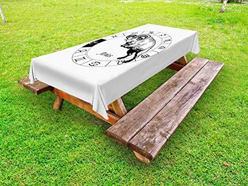 ABAKUHAUS Ram van de dierenriem Tafelkleed voor Buitengebruik, Tekens springen Geit, Decoratief Wasbaar Tafelkleed voor Picknicktafel, 58 x 104 cm, Wit en zwart