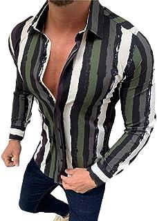 YYG Mens Button Down Long Sleeve Casual Stripe Shirt Color Block Shirt