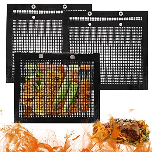 FGSAEOR BBQ Mesh Grill Bags, Reusable Grilling Pouches for Charcoal, Gas, Electric Grills & Smokers, Barbecue Bag Set is a Must-Have for All Event (3 Pack)