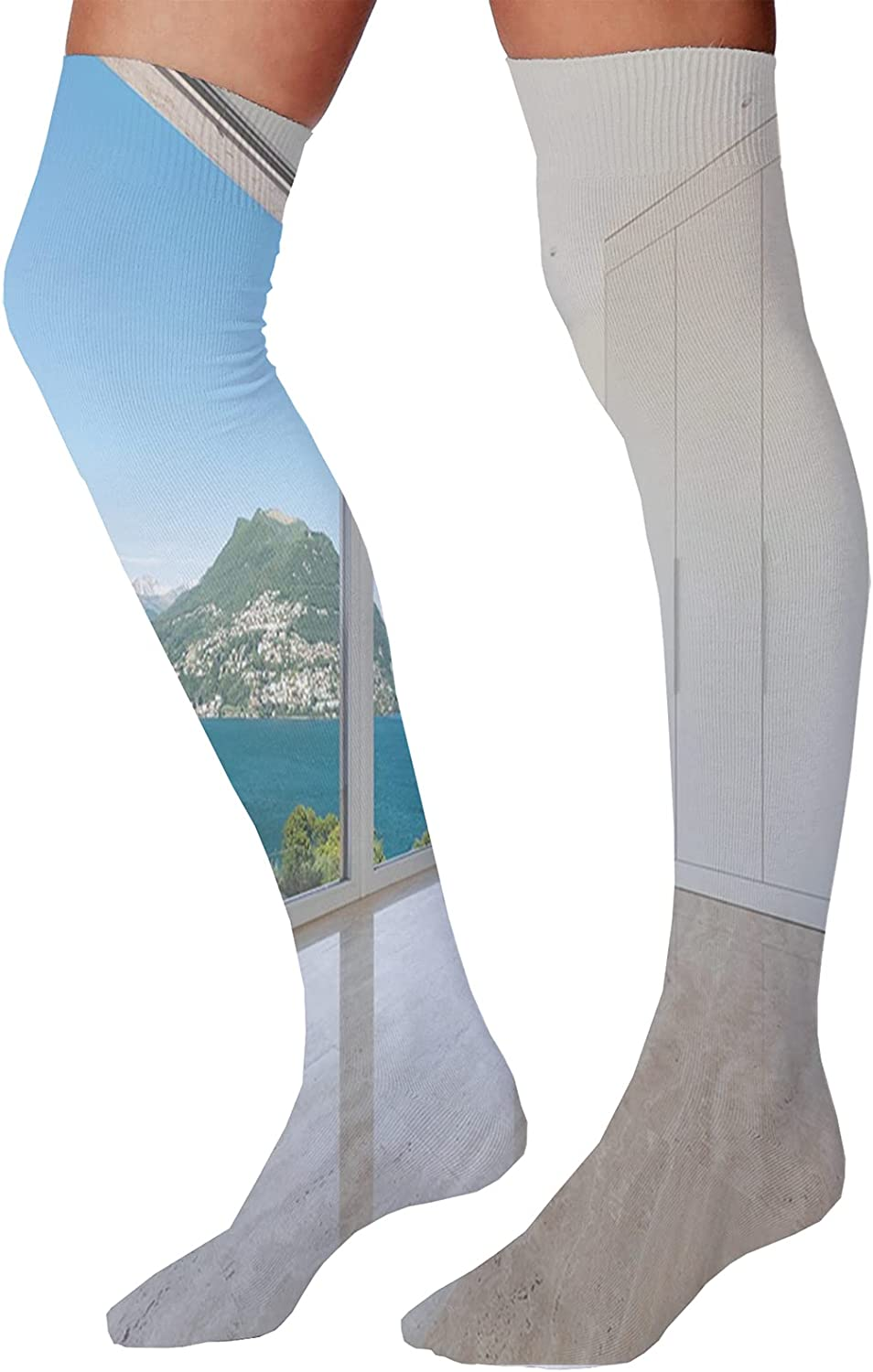 Men's and Women's Fun Socks,Inspiring Message About Family Life and Love on Dreamy Backdrop Wisdom