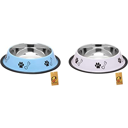 Foodie Puppies Stainless Steel Combo Offer Paw Bone Printed Sky Blue and Royal White Food Water Feeding Bowl for Dogs & Puppies (Medium, 700ml Each)