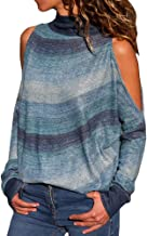 HIRIRI Turtleneck Open Shoulder Ladies Shirt Sexy Tunic Tank Crop Tops Long Sleeve Striped Women Blouse