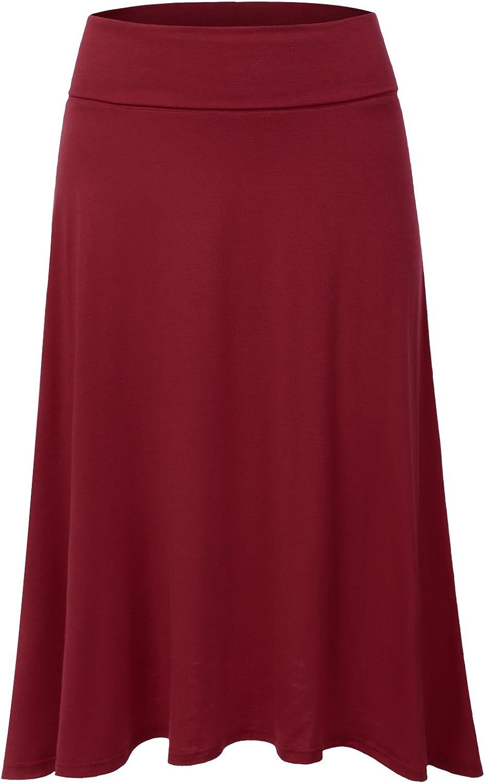 JJ Perfection Women's High Waist OFFicial mail order Flared Skirt Elegant Midi Elastic