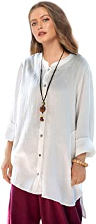 Soojun Women's Loose Fit Button Down Linen Cotton Cardigan Shirts Coat