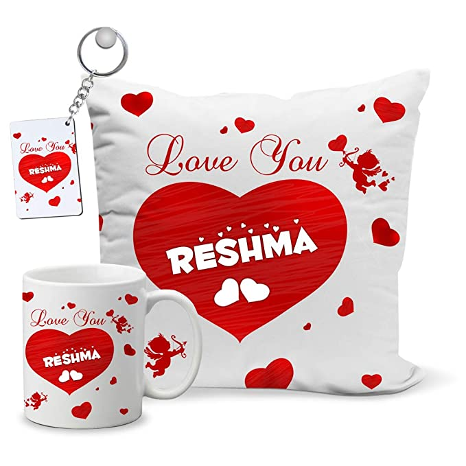 My Gifts Zone Love U Reshma Name, Mug,Cushion Cover