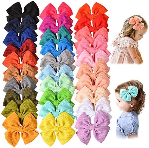 30 PCS Baby Girls Hair Bows Clips Barrettes Waffle Hair Accessories with Alligator Clip for product image