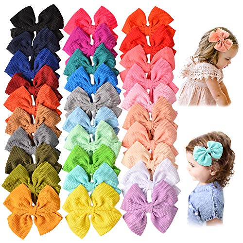 30 PCS Baby Girls Hair Bows Clips Barrettes Waffle Hair Accessories with Alligator Clip for Babies Girl Infant Toddlers Kids Teens