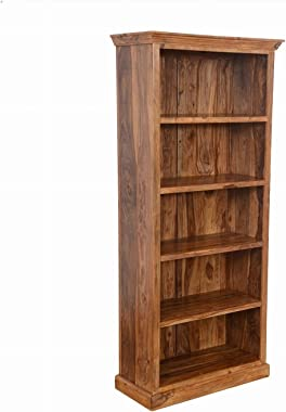 Classic Evergreen Sheesham Indian Style Open Bookcase with 5 Shelves Handmade Handicraft ( Made to Order)