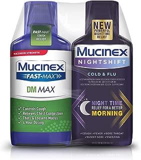 Maximum Strength Mucinex Fast-Max DM Max & Mucinex Nightshift Cold & Flu Liquid (2 x 6 fl. oz.) Thins & Loosens Mucus, Relieves Cough & Chest Congestion, Pain, Fever, Sneezing, Sore Throat, Runny Nose
