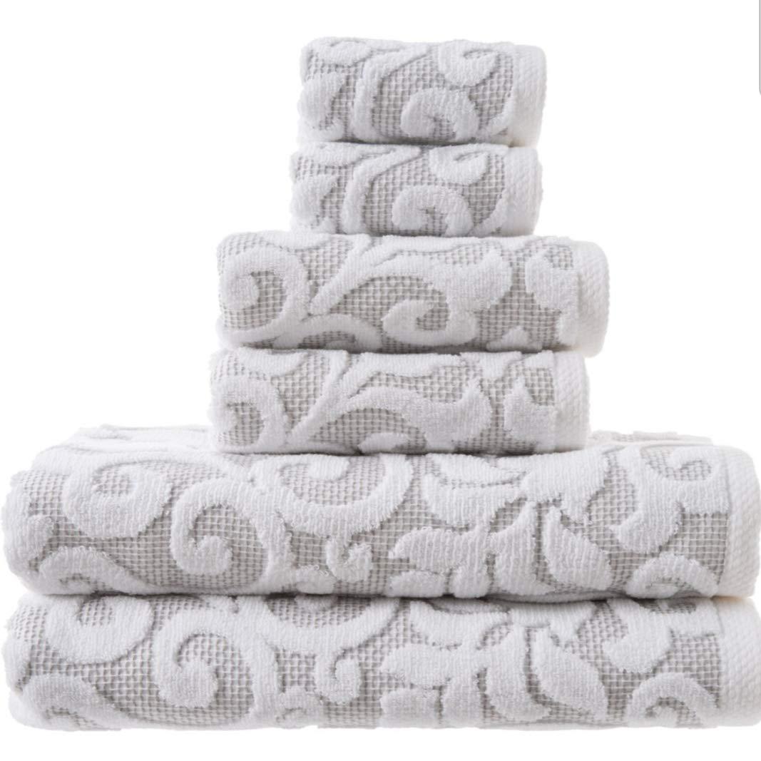 Tahari Home Bathroom Towel Set 6 Pc Sroll Filligree Floral