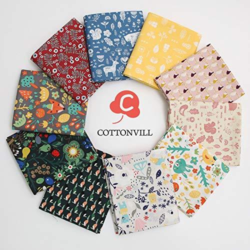 COTTONVILL 20COUNT Cotton Print Quilting Fabric (Quarter 10pcs, 05-Fox)