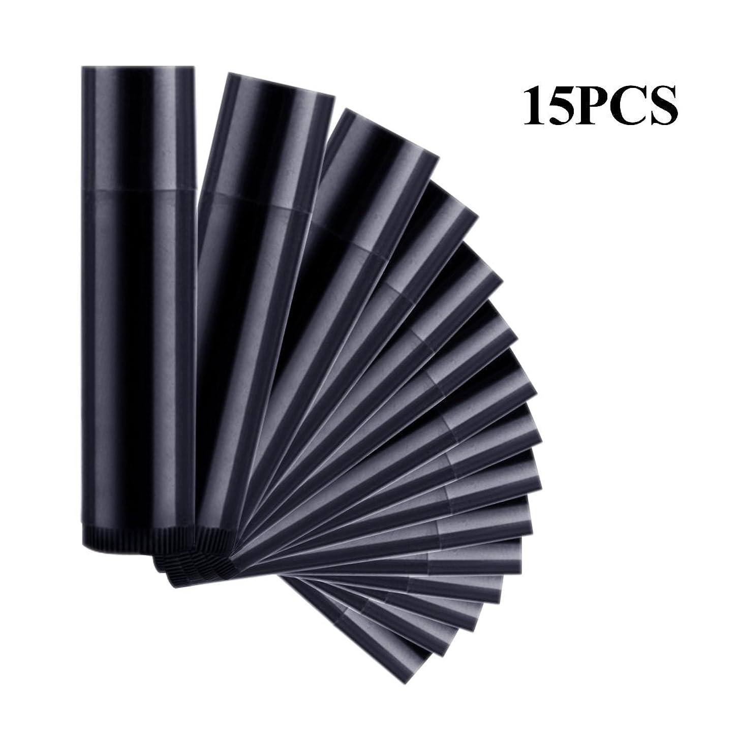 ビジュアルインタラクション慢なSODIAL 15本 ブラック リップスティック 空のチューブ ワックスチューブ DIYリップスティックチューブ 化粧品包装ボトル5g