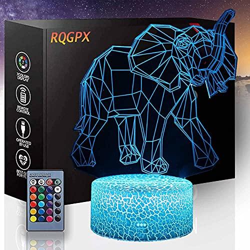 Lámpara de ilusión LED 3D Elefante C Luz de noche 3D Luz de Luna con Control Remoto y Táctil USB Recargable Regalo para Bebé Niñas Niños Cumpleaños