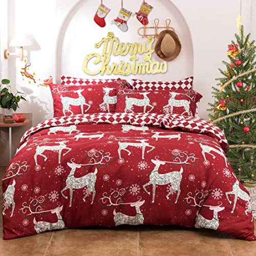 Travan 3-Piece Duvet Cover Set Christmas Deer Duvet Cover Ultra Soft Reversible Breathable Printed Microfiber Comforter Protector Bedding Set Queen Size for Christmas