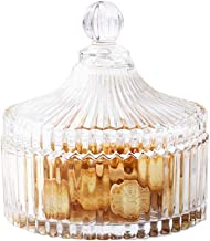 Candy Dish with Lid Clear Glass Crystal Covered Sugar Bowl Cookie Buffet Jar for Everyday Wedding Party Use Home Decoration 5.7x6.1 Inch