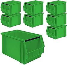 Cajas de almacenaje con barra de soporte (8 unidades, 350/300 x 200 x 200 mm, 12 L), color verde