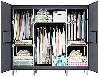 HWG Armoire Penderie Armoire Tissu Facile à Assembler avec 3 étagères Et Tringle à Vêtements pour Le Rangement De La Chamb...