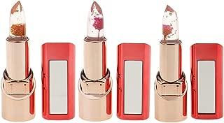 Perfeclan 3pcs Flower Crystal Jelly Lipstick Magic Temperature Change Color Lip Makeup Set for Women & Lady