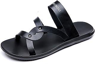 Sunny&Baby Zapatillas de Playa de Cuero Genuino de los Hombres Antideslizantes Sandalias Planas Suaves del Dedo del pie si...