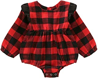Weixinbuy Romper for Baby Girls Plaid Print Cotton Long Sleeve Overall Bodysuit Clothes Outfits 0-18 Months
