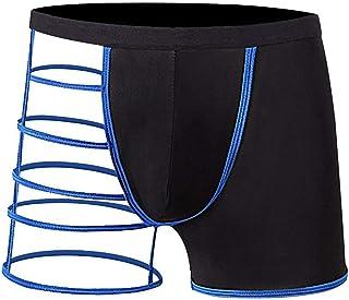 Acizi Men's Sexy Underwear Soft Elastic Pouch Boxer Briefs Hollow Out One Side