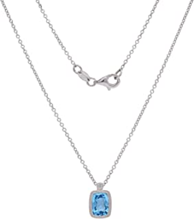 925 Sterling Silver Rectangle Cushion-Cut Blue Topaz and White Sapphire Milgrain Pendant Necklace 18