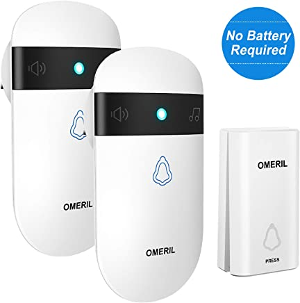 Doorbell No Battery Required, OMERIL IP55 Waterproof Door Bell Wireless Plug in 2 Receivers with 1 Push Button (Self-Powered), 52 Loud Chimes, 5 Level Volume (0-115dB) & 7 Colors Light, 500ft Range