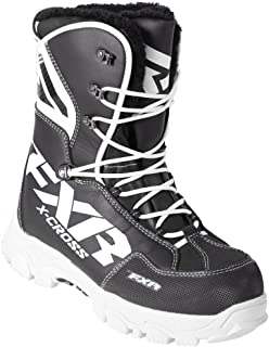 FXR X Cross Lace Winter Snowmobile Boot Insulated 600g -40C Fixed Fur Liner - Black/White - Mens 12