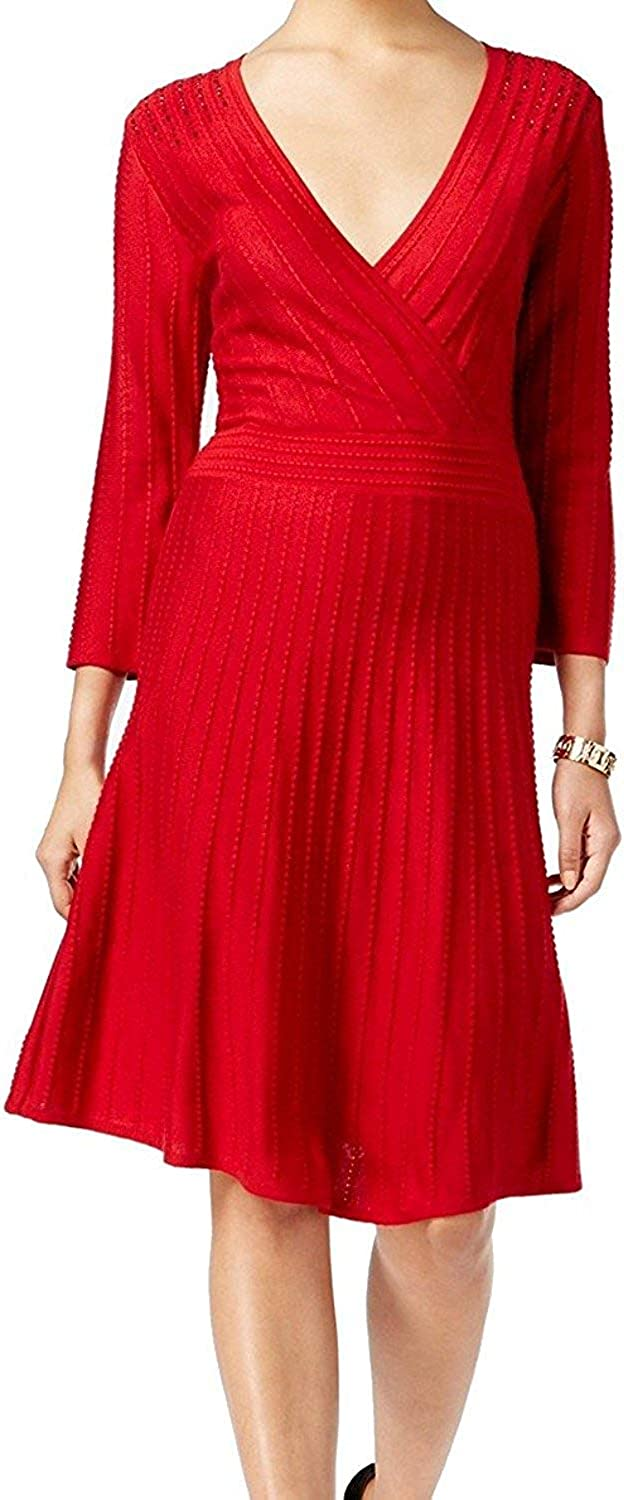 Nine West Women's 3 4 Sleeve Fit and Flare Sweater Dress