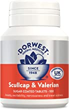 Dorwest Herbs Scullcap and Valerian Tablets for Dogs and Cats 100 Tablets, only natural herbal licensed by VMD for nervousness, anxiety and travel sickness in dogs, made in UK