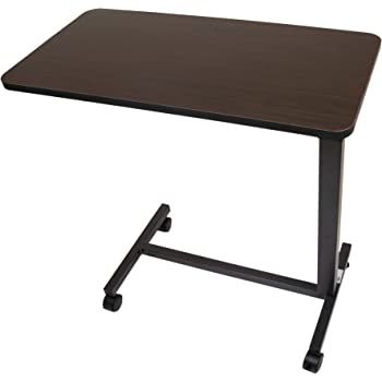 Roscoe Medical Bed Tray Overbed Table with Wheels - Rolling Tray Table for Bed or Chair - Bed Side Table for Laptop, Eating