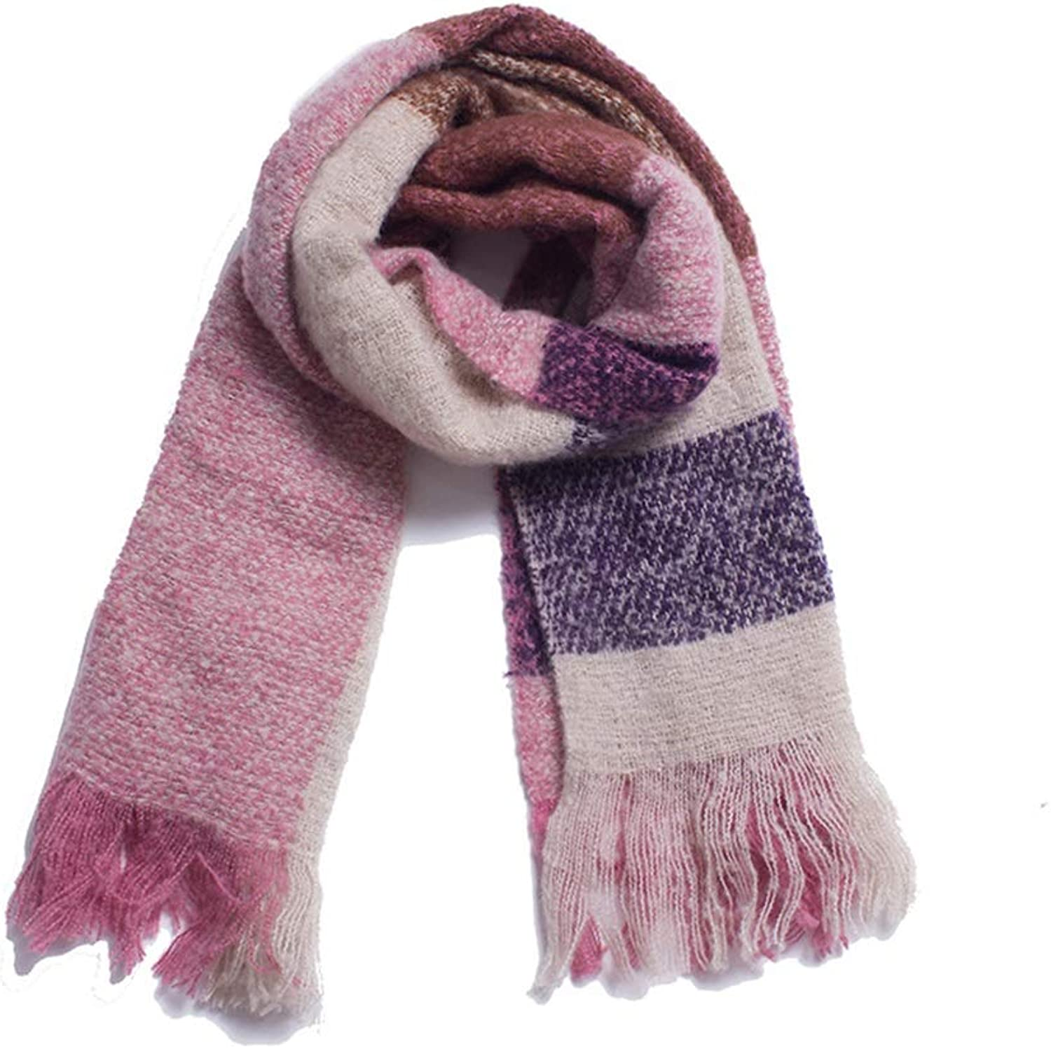 Women's Polyester Shawl Warm Scarf for Autumn and Winter (color   Pink)