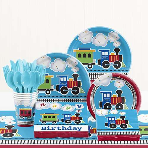 Creative Converting All Aboard Train Birthday Party Supplies Kit, Serves 8