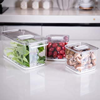Slideep Food Storage Containers Fridge Produce Saver, Stackable Refrigerator Organizer Keeper with Removable Drain Tray for Produce, Fruits, Vegetables