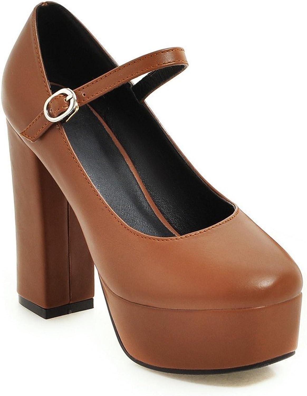 AIWEIYi Women Pumps Square Toe Ankle Strap High Heel Platform Dress shoes Black