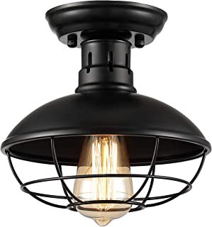 【Upgraded】ZOOSSI Cage Light Fixtures Black, Metal Cage Ceiling Light Semi Flush Mount E26, Industrial Vintage Rustic Light Farmhouse for Porch Foyer Kitchen Entryway, Industrial Ceiling Light
