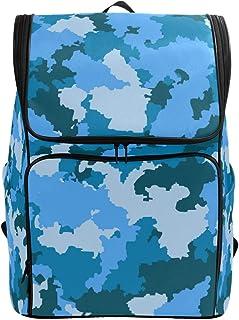 MONTOJ Mochila de Senderismo y Viajes, diseño de Camuflaje, Color Azul, con Compartimento para portátil y Mochila de Camping