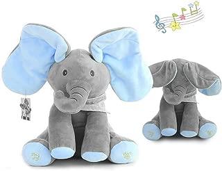 yuailiur Peek-a-Boo Elephant Animated Talking Singing Stuffed Plush Elephant Stuffed Doll Toys Kids Gift Present Boys & Girls Birthday Xmas Gift (Grey-Blue)