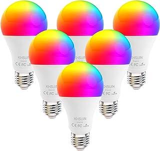 Smart Bulbs, 6 Pack 7W Led Alexa Light Bulbs with RGB Color Changing,2.4G WiFi Bulbs A19 E26 Base,No Hub Required,Smart Light Bulb Works with Alexa and Google Home